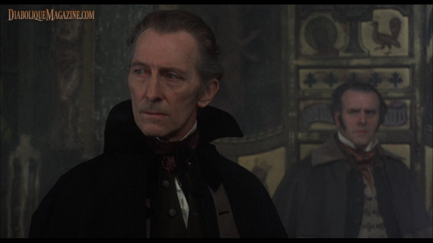 Peter Cushing about to stake Mircalla in Vampire Lovers