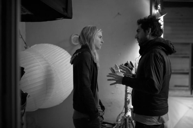 Director Zal Batmanglij on set with Co-writer/star Brit Marling