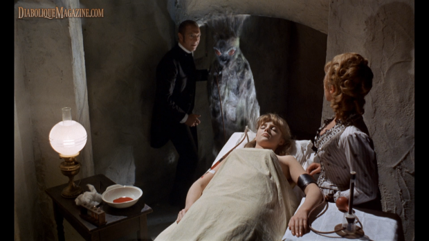 Robert Flemyng, Wanda Ventham, and Vanessa Howard in The Blood Beast Terror (1968)