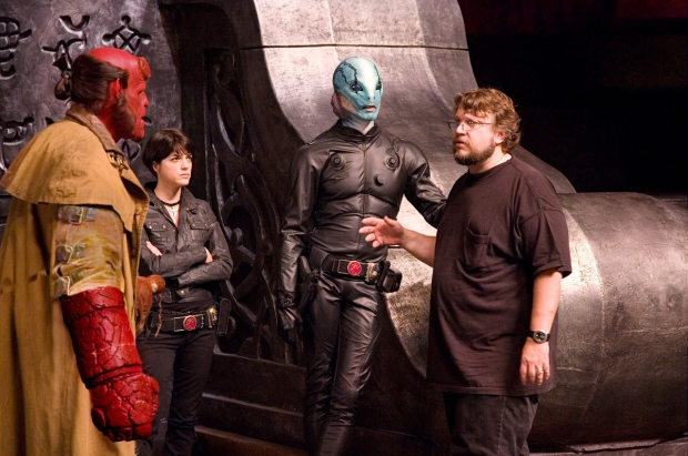 """Guillermo Del Toro with Ron Perlman, Selma Blair and Doug Jones on the set of """"Hellboy II: The Golden Army"""""""