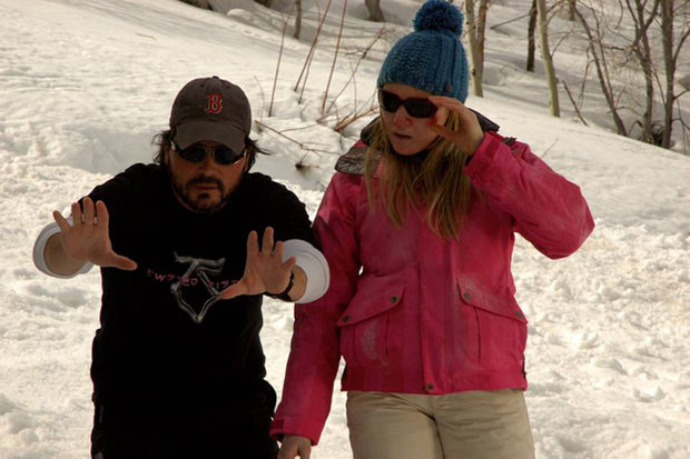 """Adam Green and Emma Bell on the set of """"Frozen"""""""