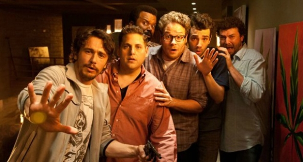 """James Franco, Jonah Hill, Craig Robinson, Seth Rogen, Jay Baruchel and Danny McBride in """"This is the End"""""""