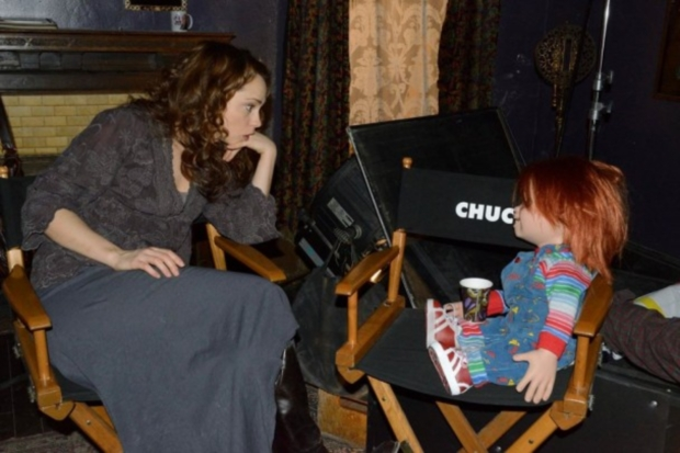 "Fiona Dourif on the set of ""Curse of Chucky"""