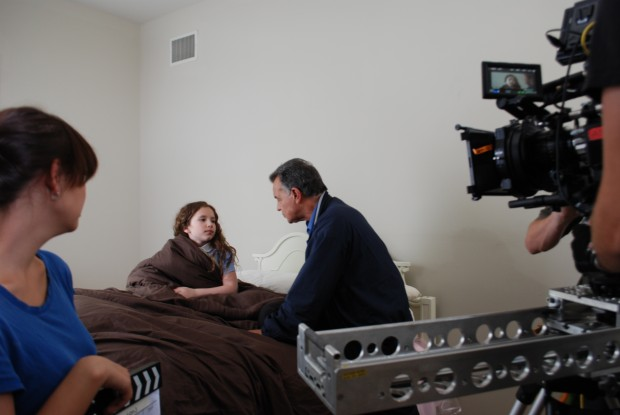 "Ray Wise and Chiara D'Ambrosio on the set of ""Reflections"""