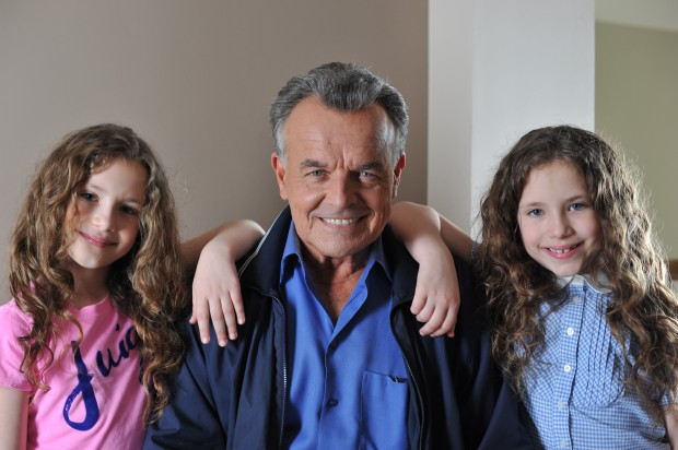 "Bianca (r) and Chiara (l) D'Ambrosio with Ray Wise on the set of ""Reflections"""