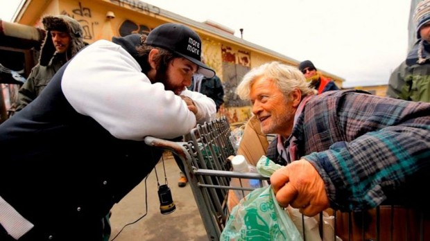 "Jason Eisener with ""Hobo with a Shotgun"" star Rutger Hauer"