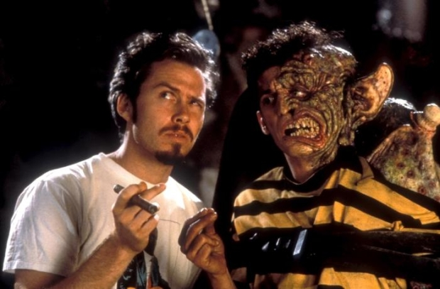 """Tom Stern and Alex Winter on the set of """"Freaked"""""""