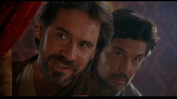 "Chris Sarandon [with Dennis Miller] in ""Tales from the Crypt presents: Bordello of Blood"""