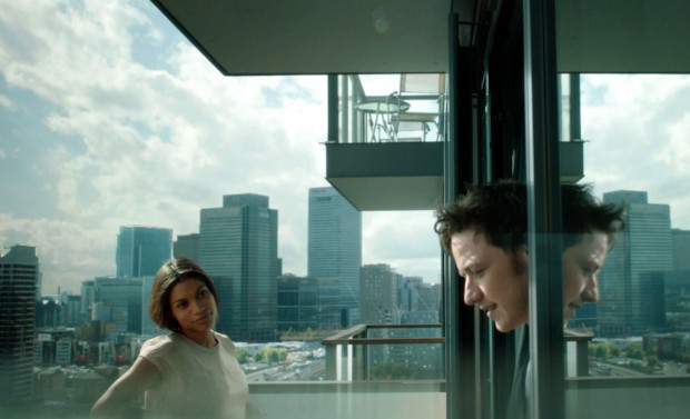 """Rosario Dawson and James McAvoy in """"Trance"""""""
