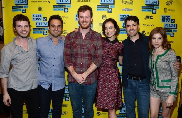 """Joe Swanberg and the cast of """"Drinking Buddies"""""""