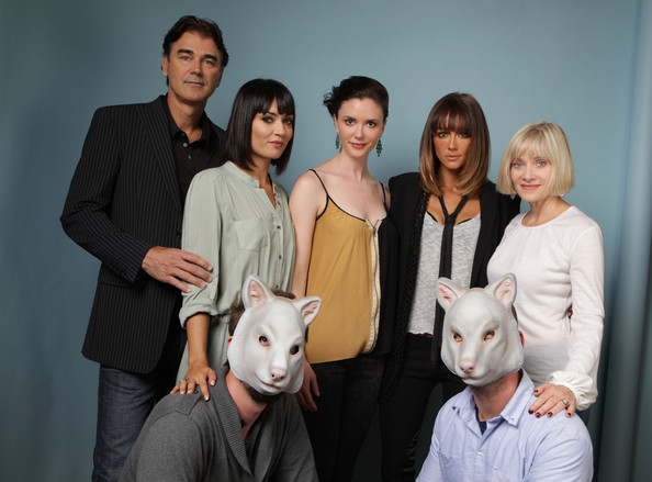 "Barbara Crampton (far right) with the cast of ""You're Next"""
