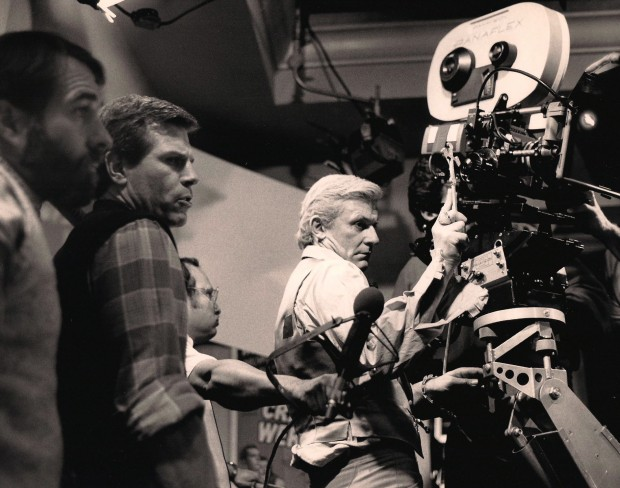 "Tom Holland directing Roddy McDowall on the set of ""Fright Night"""