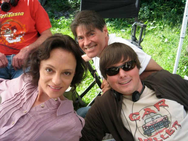 "Andrew van den Houten (R.) with Jack Ketchum (C.) and Angela Bettis (L.) on the set of ""The Woman"""
