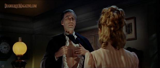 Christopher Lee and Suzan Farmer in Dracula: Prince of Darkness (1966) [Click to enlarge]