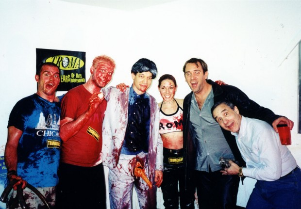 Lloyd Kaufman with Trey Parker, Ted Raimi, Doug Sakmann and two fans
