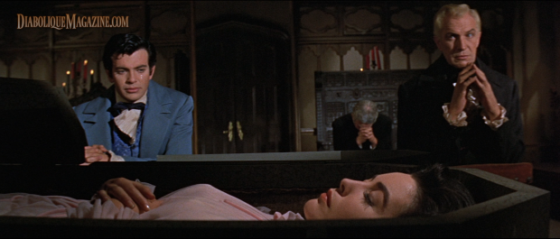 Vincent Price, Mark Damon, and Myrna Fahey in Roger Corman's The Fall of the House of Usher (1960)