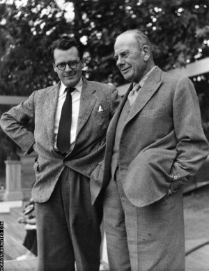 Anthony Hinds, 'Hammer' producer and screenwriter, with his father, William Hinds (1887 – 1957), one of the founders of Hammer Film Productions. Circa 1952.