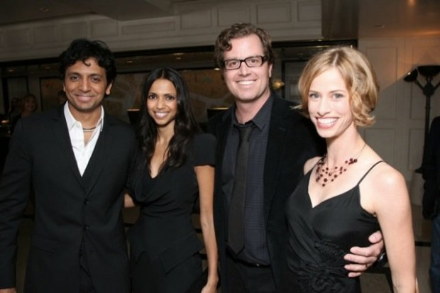 Stacy Chbosky (far right), with husband John Erick Dowdle (right), Bhavna Vaswani (left) and M. Night Shymalan (far left)