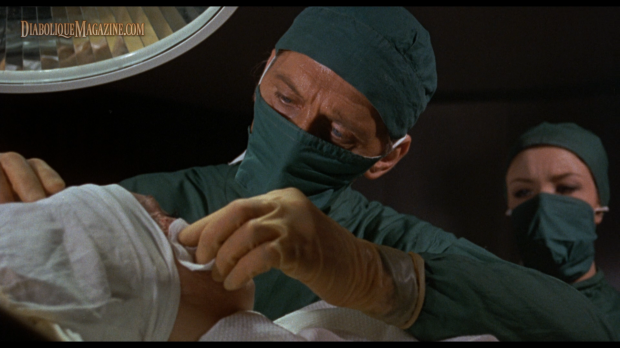 Peter Cushing and Kate O'Mara in Corruption (1968) [Click to enlarge]