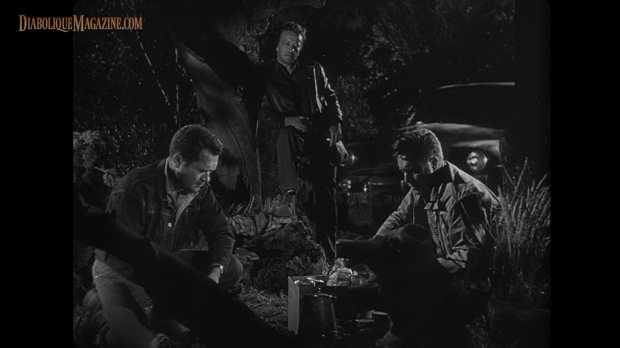Edmond O'Brien, Frank Lovejoy, and William Talman in Ida Lupino's The Hitch-Hiker (1953) [Click to enlarge]