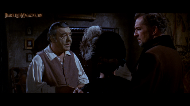 Vincent Price, Debra Paget, and Lon Chaney, Jr. in The Haunted Palace (1963) [Click to enlarge]