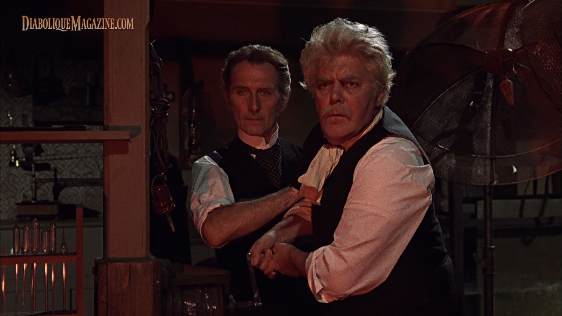 Peter Cushing and Thorley Walters in Frankenstein Created Woman (1967) [Click to enlarge]