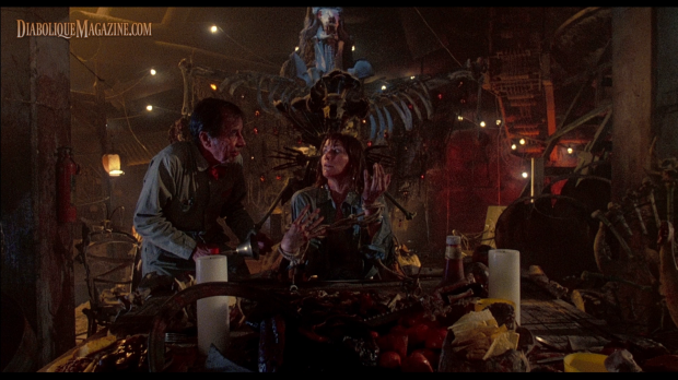 Caroline Williams and Jim Siedow in The Texas Chainsaw Massacre 2 (1986) [Click to enlarge]