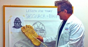 Barry Anderson, as The Professor, teaches a lesson on Bigfoots.