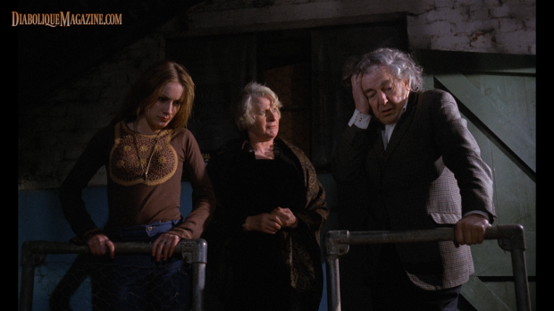 Kim Butcher, Sheila Keith, and Rupert Davies in Pete Walker's Frightmare (1974) [Click to enlarge]