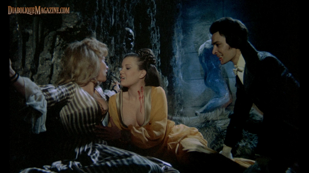 Damien Thomas, Madeleine Collinson, and Luan Peters in Twins of Evil (1971) [Click to enlarge]