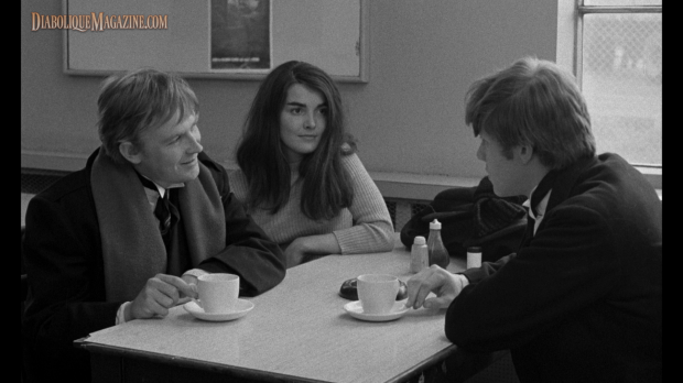 "Mick and Johnny meet ""the girl"" in the cafe in Lindsay Anderson's If.... (1968) [click to enlarge]"