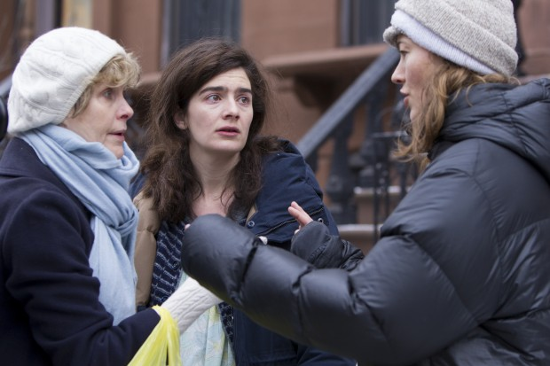 Thorndike (right) on set with Rebecca Street (left) and Gaby Hoffman (center)