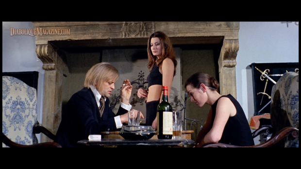 Klaus Kinski, Margaret Lee, and Rosalba Neri in Slaughter Hotel (1971)