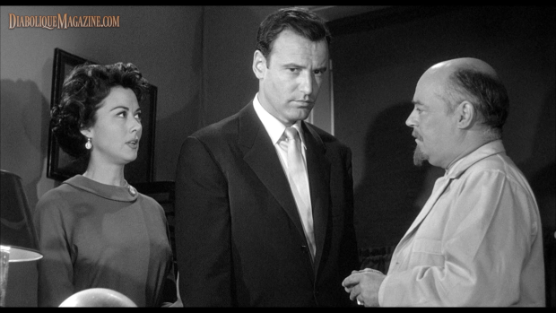 A scene from Edward L. Cahn's Curse of the Faceless Man (1958) [Click to enlarge]
