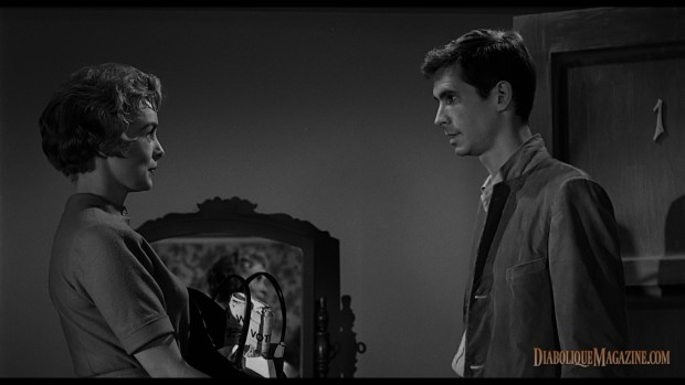 Janet Leigh and Anthony Perkins in Alfred Hitchcock's Psycho (1960) [click to enlarge]