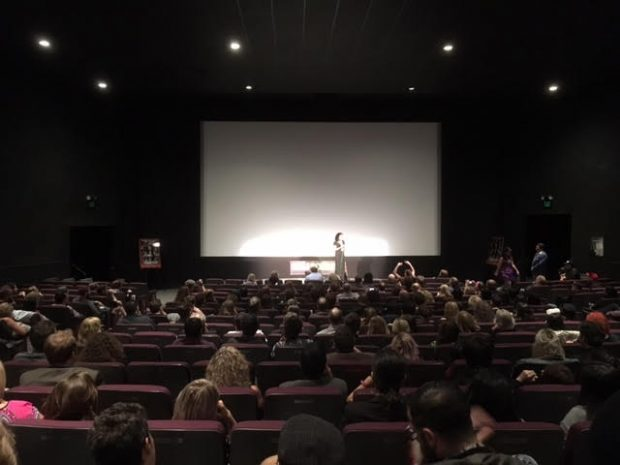 """Inside the theater crowd at the """"Aero Theatre"""" waiting for shorts program to begin during the  """"Etheria Film Night"""""""