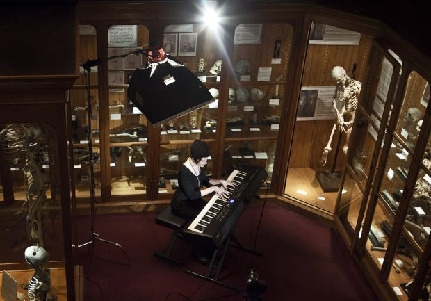 Jill Tracy composing inside the Mütter Museum, Philadelphia. Photo by Evil Numen
