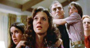 JoBeth Williams and her family in a screenshot from Poltergeist